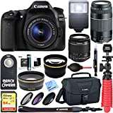 Canon EOS 80D CMOS DSLR Camera + EF-S 18-55mm IS STM & 75-300mm III Lens Kit + Accessory Bundle 64GB SDXC Memory + SLR Photo Bag + Wide Angle Lens + 2x Telephoto Lens + Flash + Remote + Tripod & More For Sale