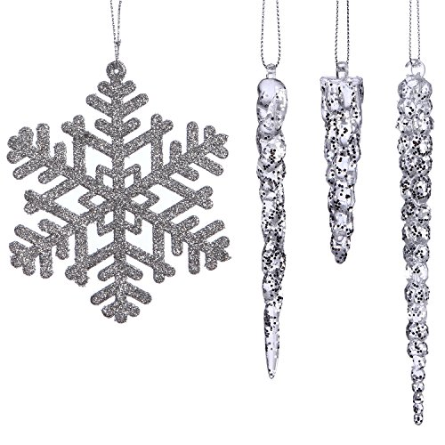 Sea Team Assorted Shatterproof Christmas Clear Acrylic Icicle Drops with Silver Snowflake Ornaments Decorations, Set of 24 (Christmas Ornament Sale Finial)