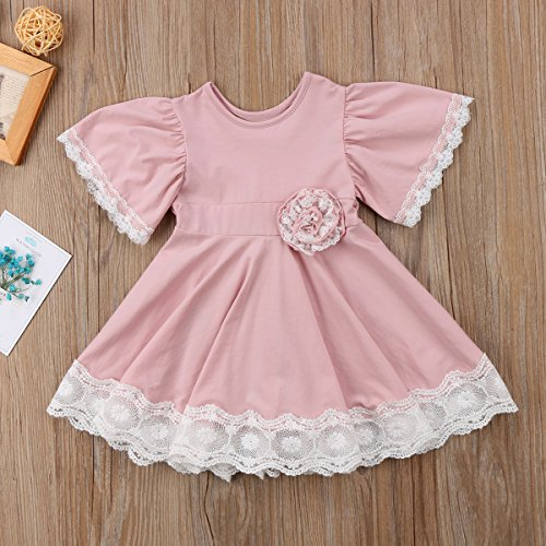 Lace Party Kids Pink Cute Solid Girl Dresses Vintage Princess Baby Dress Floral Dress Casual OqwEYFwn8