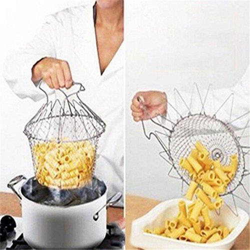 Rinse Deep Fry Chef Basket Magic Basket Mesh Basket Strainer Net Kitchen Cooking Tool Stainless Steel Colander (1) (1, Silver) (Chefs Basket)
