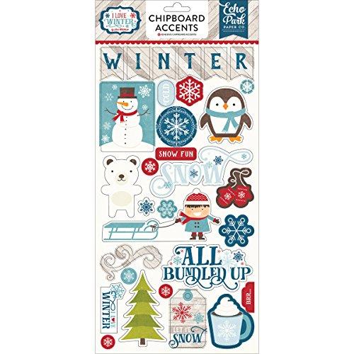 Winter Chipboard - Echo Park Paper Company ILW115022 I Love Winter 6x13 Chipboard