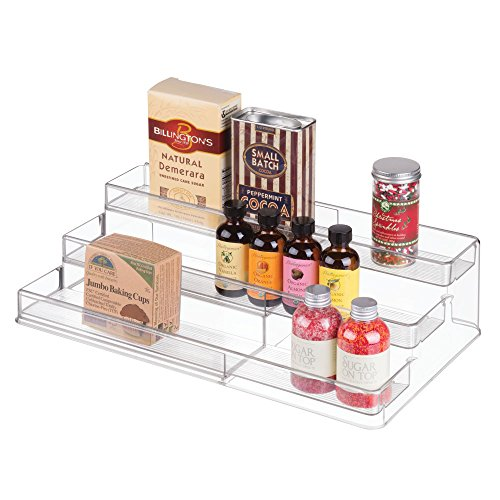 mDesign Adjustable, Expandable Kitchen Cabinet, Pantry, Shelf Organizer/Spice Rack - 3 Level Storage: Food Safe, BPA Free - Up to 20' Wide, White