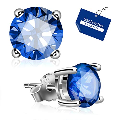Sapphire Zirconia Jewelry Cubic (UHIBROS Sterling Silver Ear Stubs Birthstone Stud Earrings Round Cubic Zirconia Diamond September Earring)