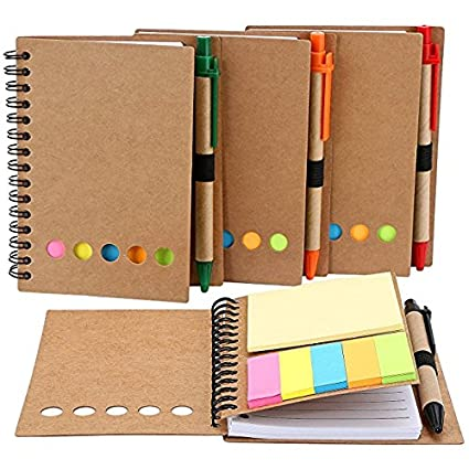 M-Aimee 4 Pack Spiral Notebook Kraft Paper Notepad with Pen in Holder and Sticky Notes, Page Marker Colored Index Tabs Flags (Black)