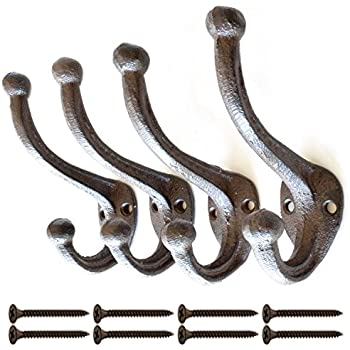 Lot of 6 New Rustic Large 9.5 x 4 Barn Farm Harness Tack Hooks Cast Iron Coat Hardware