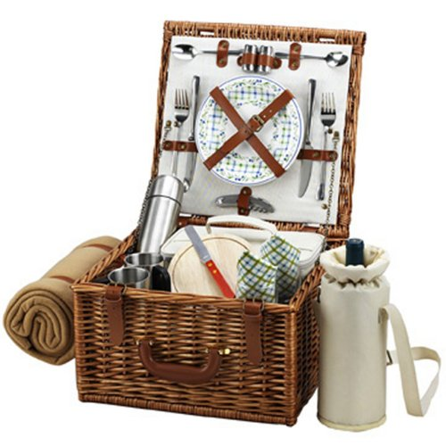 Picnic at Ascot Cheshire English-Style Willow Picnic Basket with Service for 2, Coffee Set and Blanket - - English Baskets Willow
