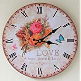 GZD Rustic Style Wall Clock,Nordic Simple Wooden Round Color Printing Wall Clock Living roon