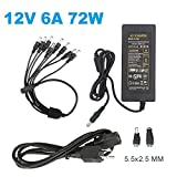 12V 6A 72W AC DC Power Supply Adapter (Input 110V-220V, Output 12 Volt 6 Amp 72 Watt) for CCTV Security Camera DVR, ZUEXT DC Converter LED Driver Lighting Transformer for LED Strip Light