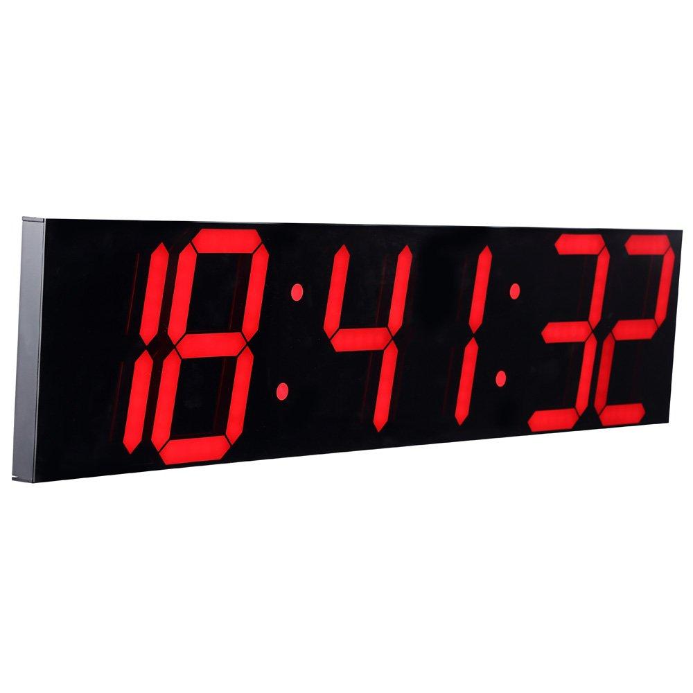 CHKOSDA Fernbedienung Steuern Jumbo Digital Digital Digital LED Wanduhr Plus, Multifunktion LED Uhr, Groß Kalender, Minute Alarm Uhr, Countdown LED Uhr, Groß Thermometer, Still Uhr (rot) d69658