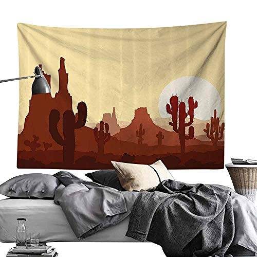 Homrkey Commemorative Tapestry Cactus Decor Arid Country Landscape with Sunset in Stone Desert Saguaro Mountains Tapestry for Room W93 x L70 Yellow Brown Redwood