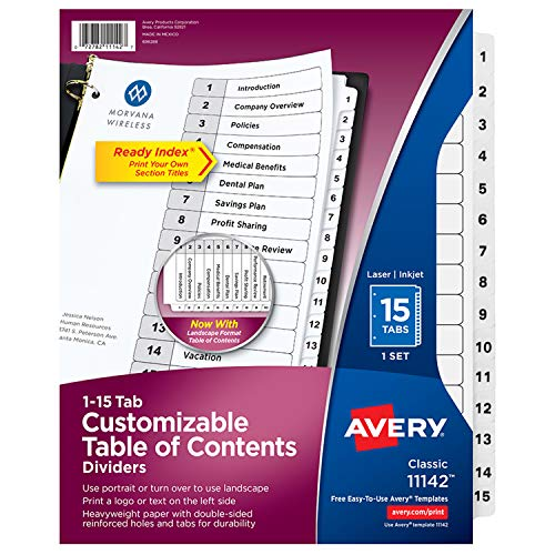 (Avery Customizable Table of Contents Dividers, Ready Index Printable Section Titles, Preprinted 1-15 White Tabs, 1 Set (11142))