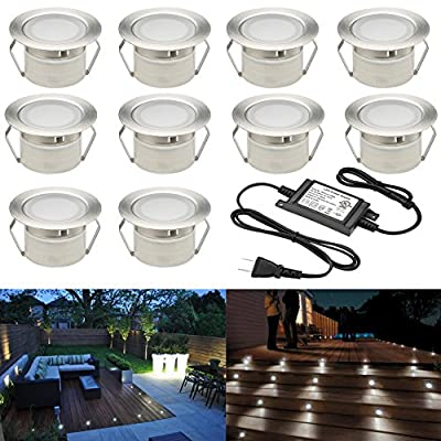 Low Voltage LED Deck Lighting Kit Stainless Steel Waterproof Outdoor Landscape Garden Yard Patio Step Decoration Lamps LED In-ground Lights