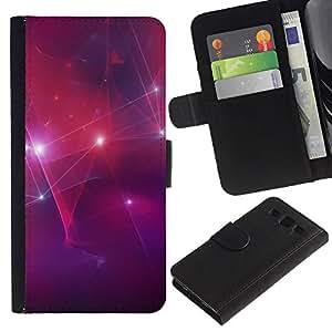 """SAMSUNG Galaxy S3 III / i9300 / i747 , la tarjeta de Crédito Slots PU Funda de cuero Monedero caso cubierta de piel ("""" Disco Stars Party Lights Red Purple Wallpaper"""")"""