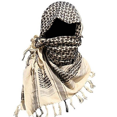 Shemagh Head Neck Scarf Tactical Military Arab Keffiyeh Desert Scarf Wrap 100% Cotton (Black&White) by AVSUPPLY (Image #5)