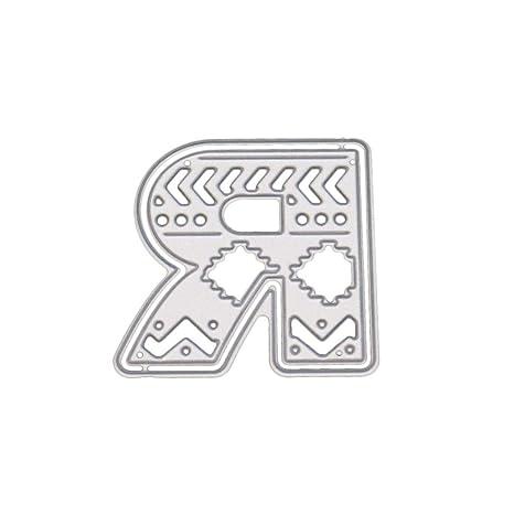 Winkey - Plantillas de metal para manualidades, 5 cm, diseño de letras del alfabeto, acero al carbono, R, medium: Amazon.es: Hogar