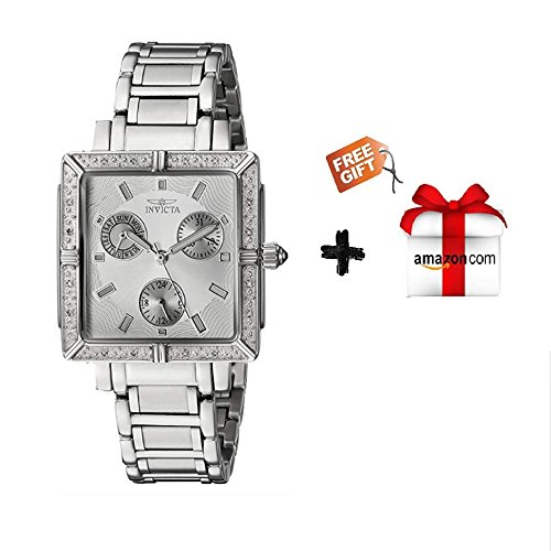 Diamond Steel Watch Stainless Chronograph (Invicta Women's 5377 Square Angel Diamond Stainless Steel Chronograph Watch + Free Gift)