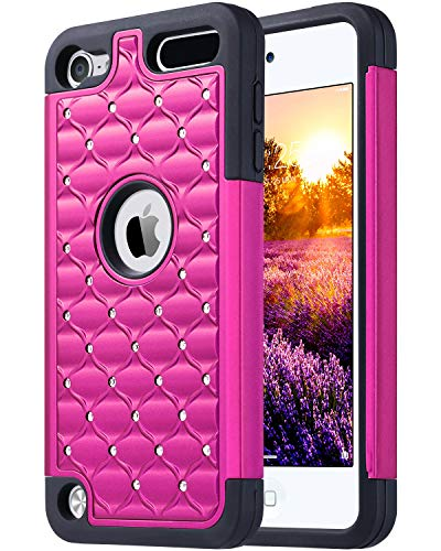 ULAK iPod Touch 7th Case Case، iPod Touch 5 & 6th Generation، Bling Glitter Dual Layer Soft Silicone Rubber & Hard Shock Cover Cover for Apple iPod Touch 5 6th 7th Gen، Hot Pink