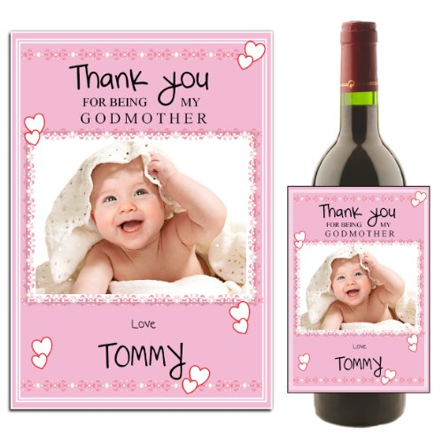 (Personalised WINE / CHAMPAGNE BOTTLE PHOTO LABEL ~ Christening Baptism Godmother Thank you Gift Idea N27 by personalised party products)