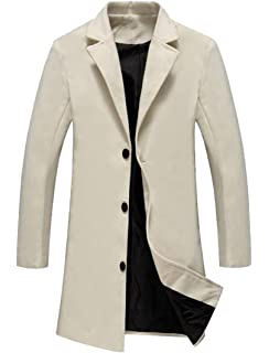 Oberora-Men Casual Solid Single Breasted Slim Fit Trench Pea Coat Overcoat