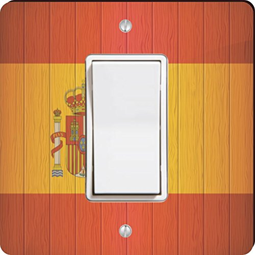 Rikki Knight 8561 Single Rocker Spain Flag On Distressed Wood Design Light Switch Plate by Rikki Knight