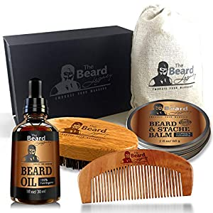 Beard Grooming for Men Care – Beard Brush, Beard Comb, Unscented Beard Oil Leave-in Conditioner, Mustache & Beard Balm Butter Wax, Shaping & Growth Gift Set