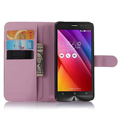 Nadakin Asus Zenfone 2 Laser ZE500KL 5.0 Inch Calidad Premium Cartera de Cuero con Carcasa de Teléfono Flip Funda con Soporte Magnetico de Cierre para Asus Zenfone 2 Laser ZE500KL 5.0 Inch (Púrpura) Rosa