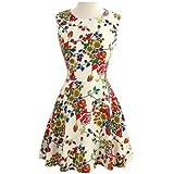 Fashion Quality Sleeveless Above-knee Full Flower Tiny Dress, Ivory 6P