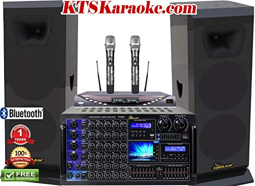 IDOLmain 6000W Mixing Amplifier,High-end 3000W Floor Standing Speakers & Dual Wireless Microphones Limited Edition Professional Performance With Anti Feedback Home Karaoke Package System FREE GIFTS (Shell Precision Grilles)
