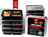 3 Compartments Meal Prep & Food Storage Sets (pack of 10) BPA Free Plastic, ...