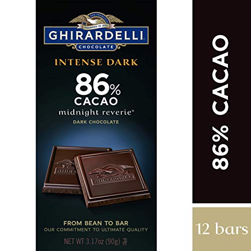 Ghirardelli Intense Dark Chocolate Bar - 86% Cacao - Dark chocolate with hints of cherries and plums - 12 bars