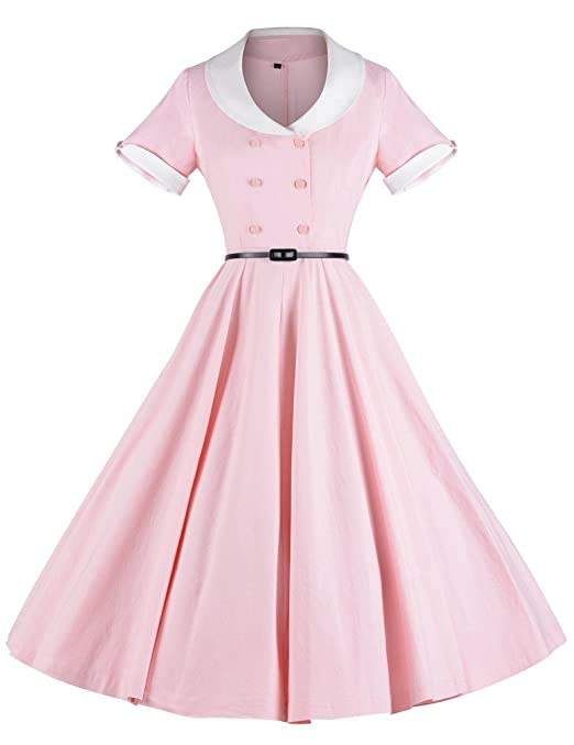 1950s Housewife Dress | 50s Day Dresses GownTown 1950s Vintage Short Sleeve Rockabilly Swing Dress $36.98 AT vintagedancer.com