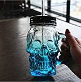 SINLOOG New 500 ml Colored Skulls with the Glass Beer Mug Large Beer on Draft a Mason Jar Novelty Heavy Base Glass Skull Face Drinking Mug cup with Glass Handles, Limited Edition Glassware(Bule)