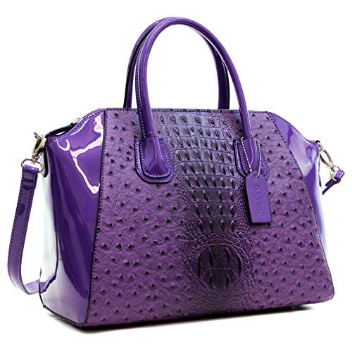 MMK collection Fashion Handbag (1006~Croco Packlock Handbag~Perfect Beautiful Designer Purse & Women Satchel Purse (Croco Style Leather Handbag)