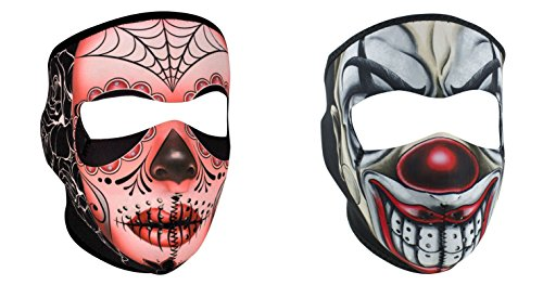 Bundle (2 Items): 1 ZanHeadgear 'Sugar Skull' Full Face Neoprene Face Masks -AND- 1 Zan 'Scary Chicano Clown' Full Face Neoprene Face Masks, Ski (Clown Faces Scary)