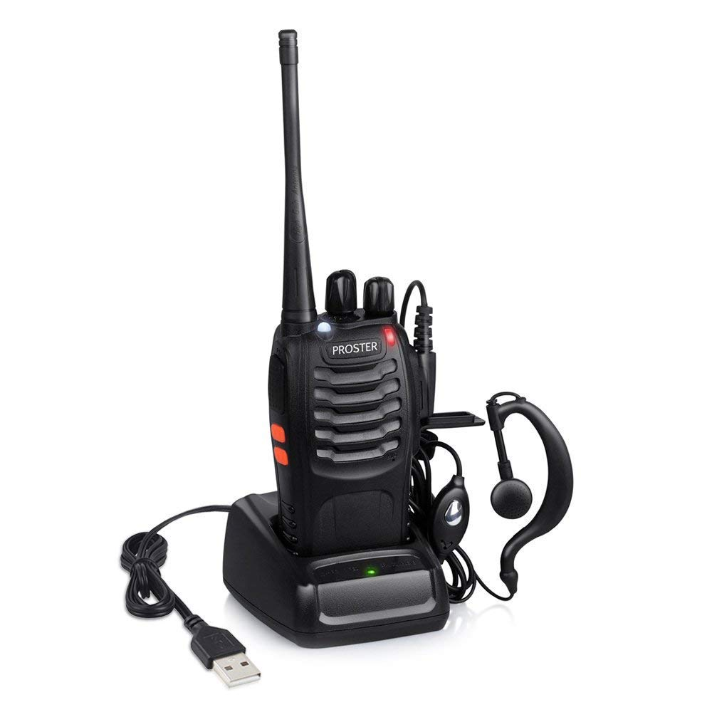 Proster Walkie Talkie Rechargeable 16 Channel Two Way Radio with Original Earpiece and USB Charger One Piece
