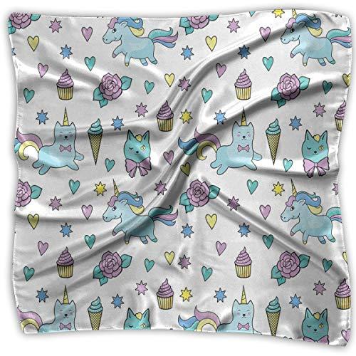 - Bandana Head and Neck Tie Neckerchief,Girls Pattern With Hearts Stars Flowers Ice Cream Cute Funny,Headband