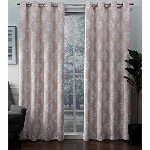 Exclusive Home Medallion Blackout Grommet Top Curtain Panel Pair, Blush, 52x84, 2 ()
