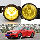 DZT1968 12V 55W For 1999-2000 Honda Civic SI Type R JDM Yellow Fog Lights Front Bumper Lamp FUL