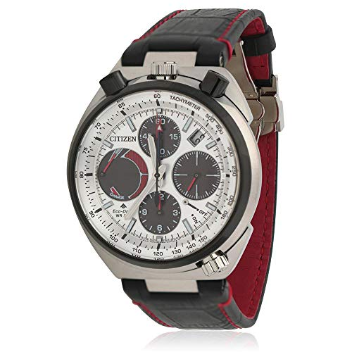 Men's Citizen Eco-Drive Promaster Tsuno Chronograph Racer Watch AV0071-03A Diamond Chronograph Red Leather Watch