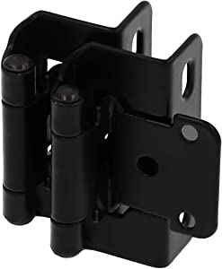 "DecoBasics 1/2"" Overlay 3/4"" Frame Partial Semi Wrap Cabinet Hinge, Black (25 Pairs Pack/50 Pcs)"