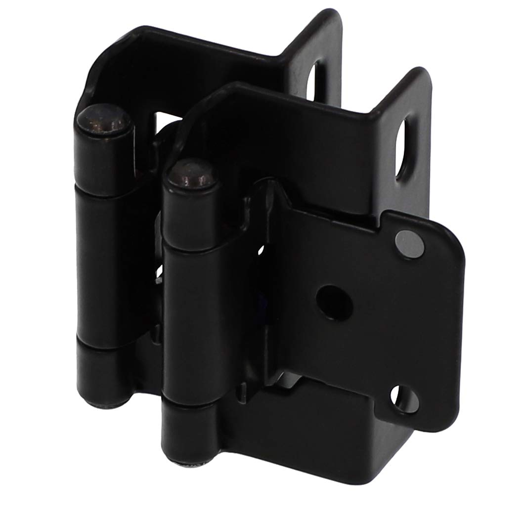 Kenon 1/2'' Overlay 3/4'' Frame Partial Semi Wrap Self-Closing Hinges, in Matted Black Finish.(25 Pair Pack)