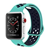 YC YANCH Greatou for Apple Watch Band 38mm,Soft Silicone Sport Band Replacement Wrist Strap for iWatch Apple Watch Series 3, Series 2, Series 1,Nike+,Sport,Edition,S/M,Turquoisemid/Midnightblue