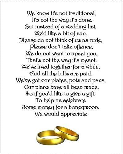 25 X Pour Lune De Miel De Mariage Argent Demande Poème