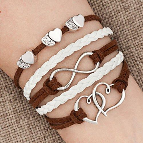 LovelyJewelry Leather Wrap Bracelets Girls Double Hearts Infinity Rope Wristband Bracelets Gifts (Brown)