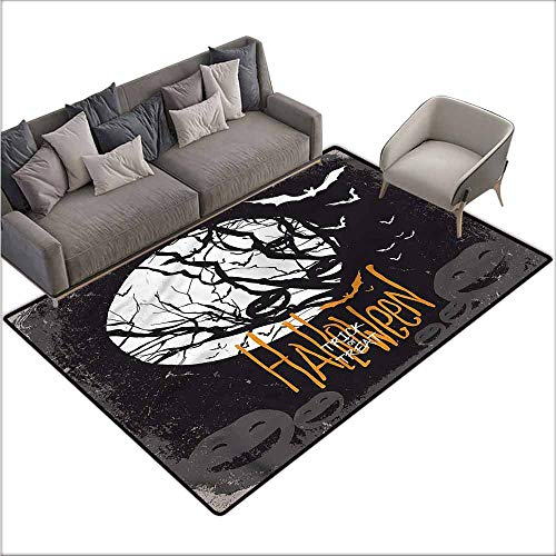 Large Floor Mats for Living Room Colorful Vintage Halloween,Full Moon Trees 60