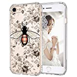 MOSNOVO iPhone 8 Case, iPhone 7 Cover, Fashion Bee Pattern Clear Design Transparent Plastic Hard Back with TPU Bumper Protective Case Cover for Apple iPhone 7 / iPhone 8 (4.7 inch)