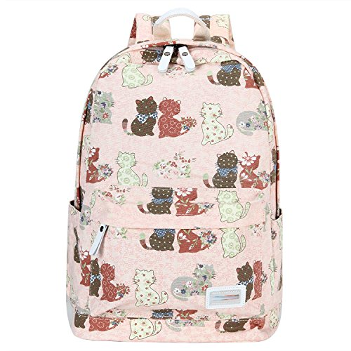Cross Body Panels (Bagerly Lightweight Canvas Laptop Bag Shoulder Daypack School Backpack Causal Handbag (Pink Cats))