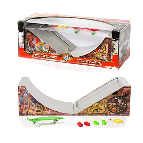 """Grip and Tricks - Fingerboard Park Ramps (Quarterpipe and Slider) with 1 Finger Skate 8 Extra Mini Fingerboards Wheels and 1 Mini Skateboard Tool - Finger Toy Set 11""""x4.5""""x4"""" for 6+ Years Old Kid"""