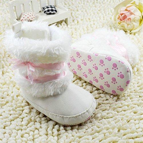 ESHOO recién nacido bebé niñas lazo botas de nieve suave Crib Zapatos Niño Botas de forro polar cálido caqui Talla:0-6 meses blanco