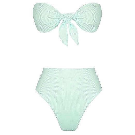 f518adb25438b Women Bandeau Bikini Set Solid Strapless High Waist Swimsuits Push-Up  Brazilian Beachwear Sexy Bathing Suit Front Knot at Amazon Women's Clothing  store: